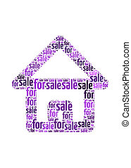 for sale text on house symbol  graphic and arrangement concept