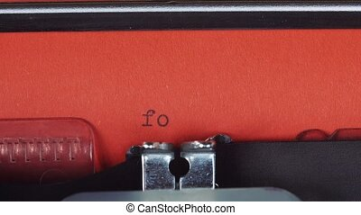 for sale - Typed on a old vintage typewriter. Printed on red...