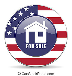 For sale usa design web american round internet icon with shadow on white background.