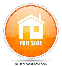 For sale web icon. Round orange glossy internet button for webdesign.