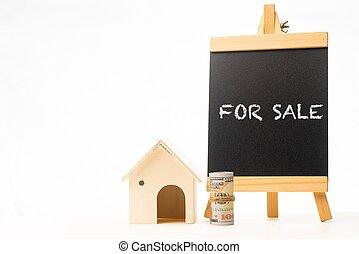 For Sale wordings on a chalkboard