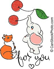 Cute friendly animals. Fox and elephant with cherry.