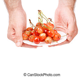 for you - diet concept with hands of man and cherry isolated...