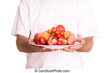 for you - diet concept,a lot of fruits on the hands isolated...