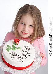 young girl with mothersday tart
