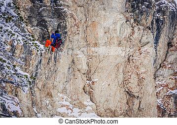 fora-piste, climbing., esquiadores, prática, rocha
