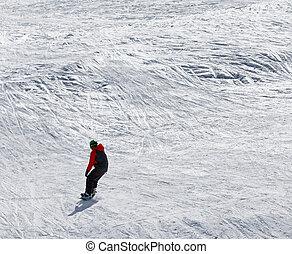 fora-piste, declive, declive, snowboarder, nevado