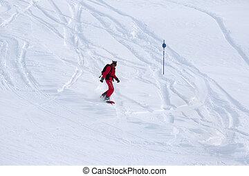fora-piste, declive, descends, snowboarder, nevado