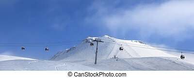 fora-piste, declive, elevador, esqui, gôndola