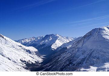 fora-piste, declive, esqui, vista