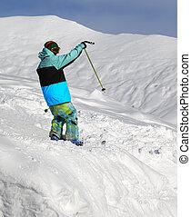 fora-piste, declive, esquiador