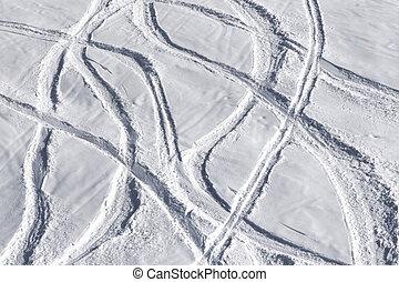 fora-piste, declive, esquis, esqui, traço