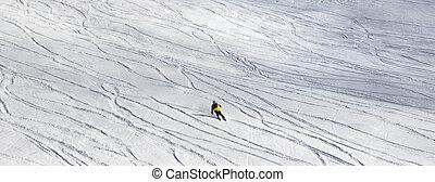 fora-piste, declive, nevado, esqui, declive esquiador