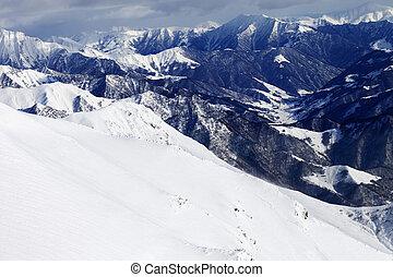 fora-piste, declive, nevado, montanhas
