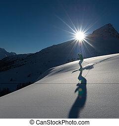 fora-piste, menina, esquiando
