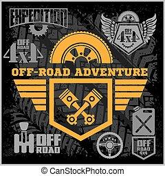 fora-roading, elements., clube, car, fora-estrada, icons., suv, desenho, aventura, emblemas, emblemas
