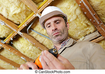 forage, site, construction, homme