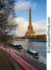 foran, solnedgang, hos, eiffel tårn, og, flod seine, paris