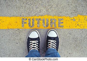 foranstaltning, into, den, future.