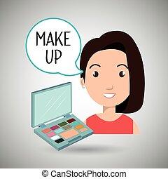 forarbejde, kvinde, oppe, kosmetik