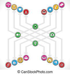 forarbejde, sociale, gruppe, netværk, iconerne