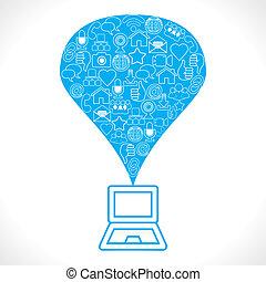 forarbejde, sociale, netværk, ballon, iconerne