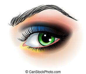 forarbejde, vektor, øje, oppe, illustration