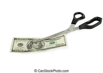 forbici, dollari, taglio, 100, banconota