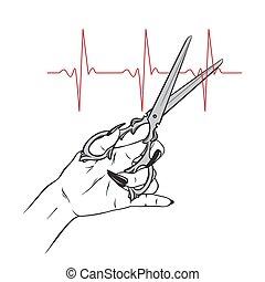 forbici, in, mano femmina, taglio, impulso, linea