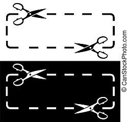 forbici, linea bianca, nero, punteggiato