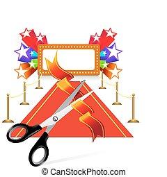 forbici, stella, sfondo rosso, moquette