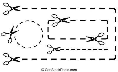forbici, taglio, set, linea, punteggiato