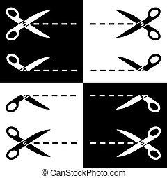 forbici, vettore, taglio, linee