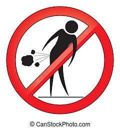 Forbid farting people sign circle. Prohibited red symbol isolated vector illustration.