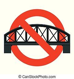 forbid., proibição, estrito, construção, pontes, proibição, estrada ferro, bridge.