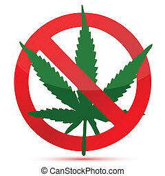 Forbidden cannabis red and green illustration design ...