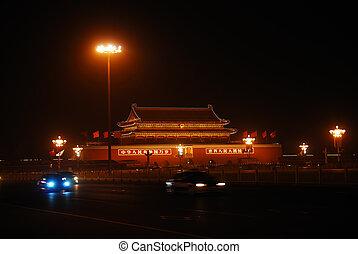 Forbidden city gate in night illumination