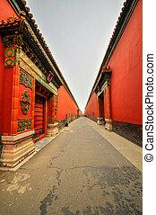 Forbidden city in Beijing buildings bricks, China