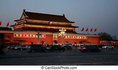 forbidden city - night scene of the tiananmen square