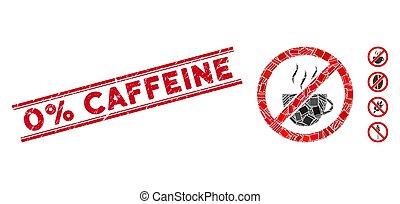 Forbidden Coffee Mosaic and Grunge 0% Caffeine Stamp with Lines