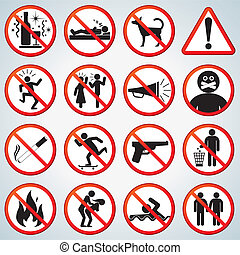 Forbidden Icons Set - Fun Prohibited and Alerting Signs ...