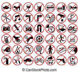 Forbidden icons - Set of illustrated icons of forbidden ...