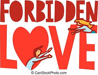 Forbidden love between man and woman - Cartoon illustration...