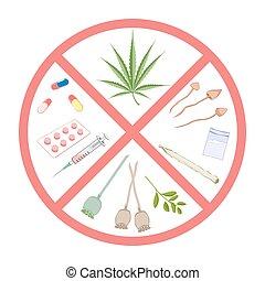 Forbidden narcotics. Logo and infographic warning.