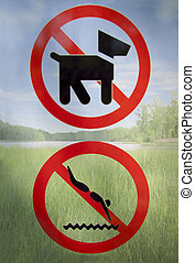 Forbidden - Park rules signs forbidden on a nature ...
