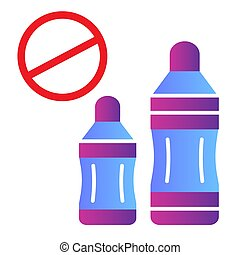 Forbidden plastic flat icon. Plastic bottle ban color icons in trendy flat style. Plastic prohibited gradient style design, designed for web and app. Eps 10.