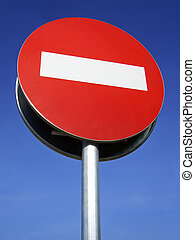 Forbidden Sign - Forbidden Traffic Sign with blue background...