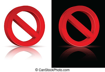 illustration of prohibited red sign on isolated white background, vector