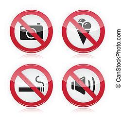 Forbidden sign: no cameras, no food - Red glossy modern...