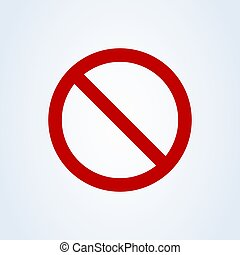 Forbidden sign red flat style. Vector illustration icon isolated on white background
